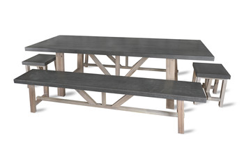 Chilson table et banc set ciment fibre for Banc de jardin en ciment